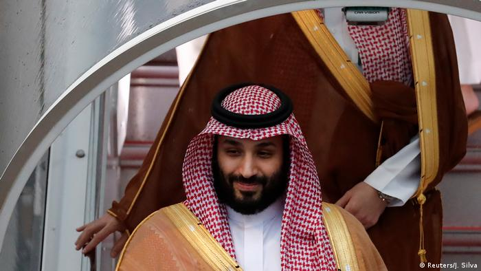 Crown Prince Mohammed bin Salman arrives at the G20 in Osaka (Reuters/J. Silva)