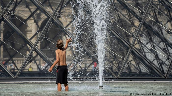 A fountain at the Louvre Museum in Paris, France