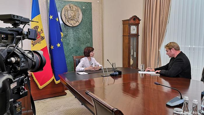 Image from DW interview with Moldovan Prime Minister Maia Sandu, in Chisinau.