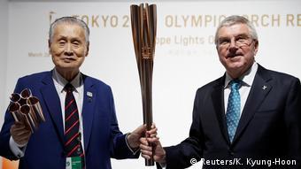 Yoshiro Mori and IOC president Thomas Bach
