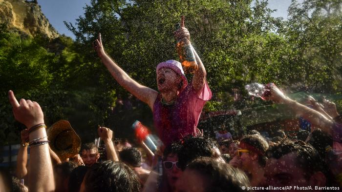 Revelers takes part in a wine battle, in the small village of Haro, northern Spain