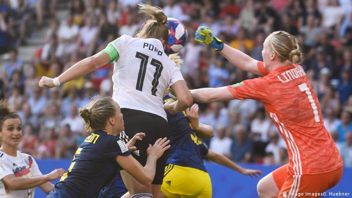 Lindahl's foul on Popp would have seen Germany get a penalty were it not for Popp's being very narrowly offside.