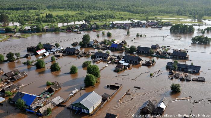 Flooded homes in the Irkutsk region
