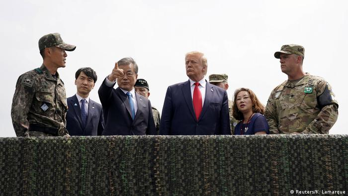 Prior to his meeting with Kim, Trump flew to the DMZ with South Korean President Moon Jae-in. The US president met with South Korean and American troops as he watched over North Korea from a military post in the DMZ.