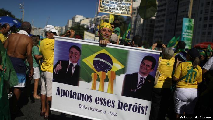 Protestos em apoio a Moro e Bolsonaro no Rio de Janeiro