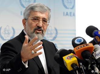 Soltanieh hinter Mikrofonen (Quelle: AP)