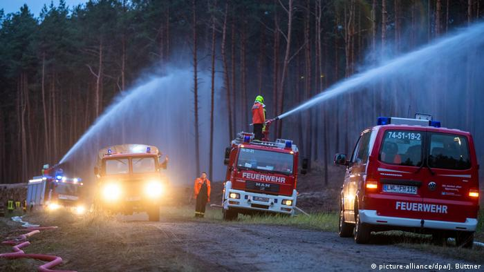 Firefighter put out a forest fire in northern Germany