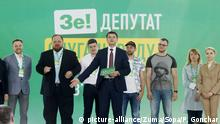 June 9, 2019 - Kiev, Kiev, Ukraine - Head of the Servant of the People political party (Sluga Narodu), Dmytro Razumkov (C) presents the party candidates during the congress of the pro-presidential Servant in Kiev, Ukraine..The pro-presidential Servant of the People political party (Sluga Narodu), is the leader with 48.2 percent of supporters so far among those who intend to vote and have made up their mind, according to reports and recent survey held by rating sociological group. The extraordinary elections to Ukrainian Parliament will be held on 21 July 2019 in Ukraine. (Credit Image: © Pavlo Gonchar/SOPA Images via ZUMA Wire |