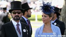 ASCOT, ENGLAND - JUNE 17: Sheikh Mohammed bin Rashid Al Maktoum and Princess Haya bint Al Hussein attend day one of Royal Ascot at Ascot Racecourse on June 17, 2014 in Ascot, England. (Photo by Chris Jackson/Getty Images for Ascot Racecourse)