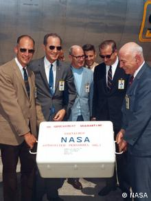 The first Apollo 11 sample return container, containing lunar surface material, arrives at Ellington Air Force Base (NASA)