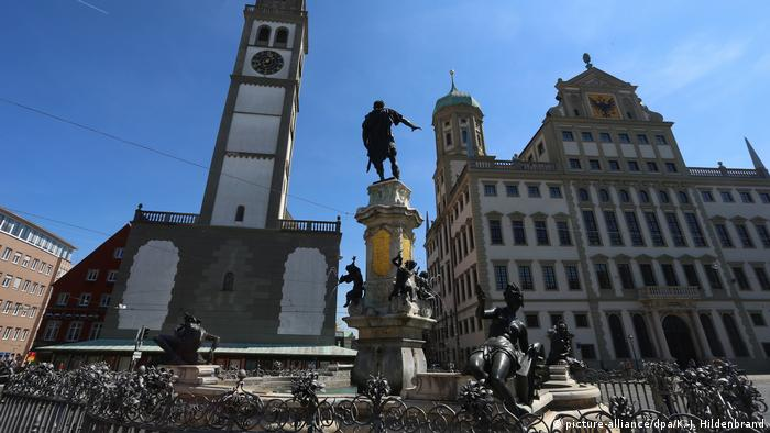 Augustus fountain in front of Perlachturm and Augsburg Town Hall