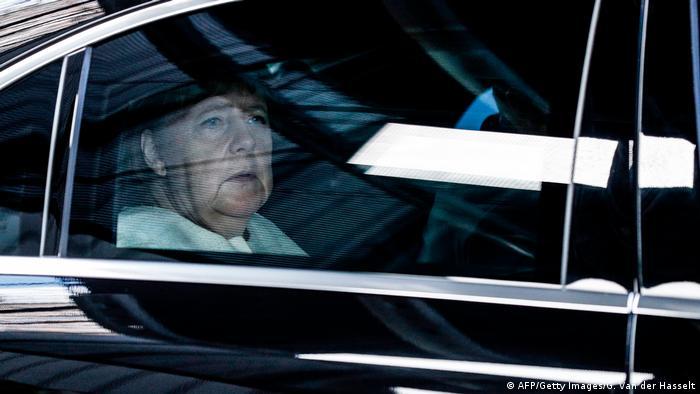 German Chancellor Angela Merkel arrives at an EU leaders summit in Brussels, Belgium (AFP/Getty Images/G. Van der Hasselt)