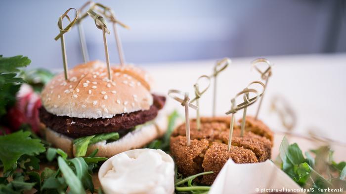 Two vegetarian burgers