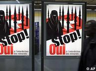Cartaz de propaganda pelo 'não' dos suíços à construção de minaretes