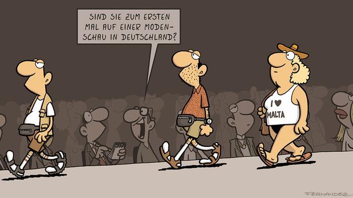 DW Euromaxx Cartoon Verstehen Sie Deutsch? von Miguel Fernandez Modenschau
