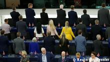 Members of the Brexit Party turn their back to the assembly as the European anthem is played, during the first plenary session of the newly elected European Parliament in Strasbourg, France, July 2, 2019. REUTERS/Vincent Kessler