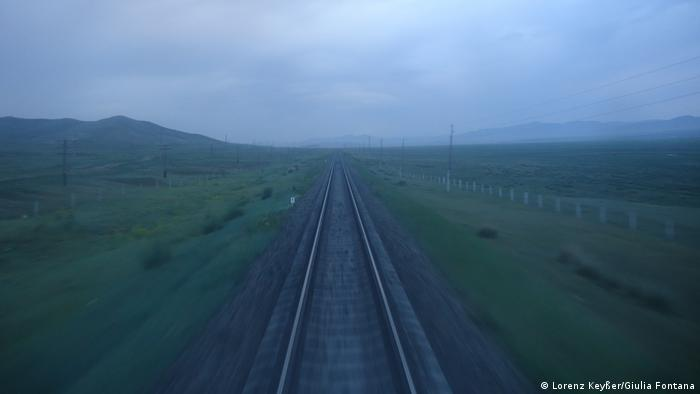 Lorenz Keysser und Giulia Fontana's view from their train from Russia to Mongolia, en route to China