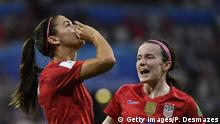 United States' forward Alex Morgan (L) celebrates after scoring a goal during the France 2019 Women's World Cup semi-final football match between England and USA, on July 2, 2019, at the Lyon Satdium in Decines-Charpieu, central-eastern France. (Photo by Philippe DESMAZES / AFP) (Photo credit should read PHILIPPE DESMAZES/AFP/Getty Images)