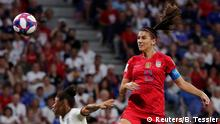 Soccer Football - Women's World Cup - Semi Final - England v United States - Groupama Stadium, Lyon, France - July 2, 2019 Alex Morgan of the U.S. scores their second goal REUTERS/Benoit Tessier