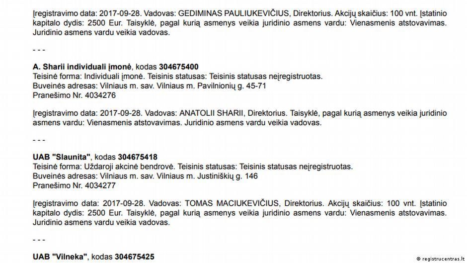 Screenshot Bulletin des litauischen Registrierungszentrums für 2017