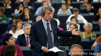 A man delivers a speech to the European Parliament