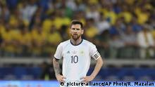 Argentina's Lionel Messi stands in the field during a Copa America semifinal soccer match against Brazil at the Mineirao stadium in Belo Horizonte, Brazil, Tuesday, July 2, 2019. (AP Photo/Ricardo Mazalan) |