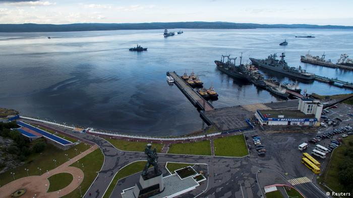 An aerial view shows Russian navy ships at the port of Severomorsk