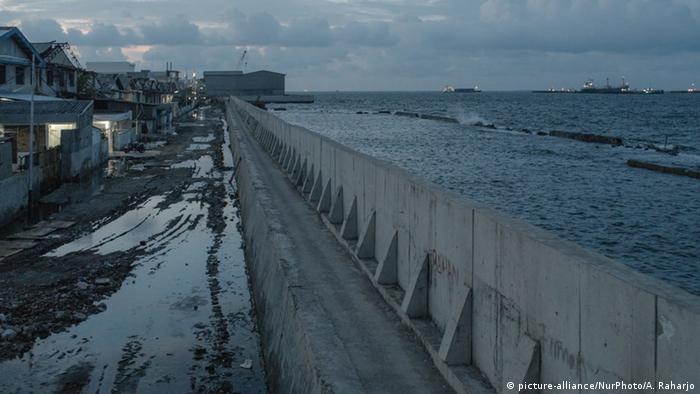 A seawall in Jakarta, Indonesia