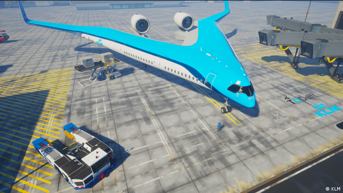 The Flying V concept aircraft from KLM and Delft University of Technology in a computer simulation