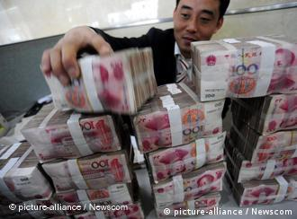 piles of Chinese yuan