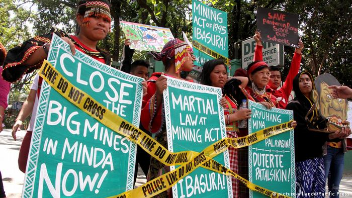 Environmental activists protest against mines in the Philippines