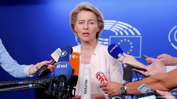 Ursula von der Leyen speaks to reporters in Strasbourg