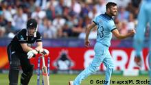 CHESTER-LE-STREET, ENGLAND - JULY 03: Mark Wood of England celebrates bowling Jimmy Neesham of New Zealand during the Group Stage match of the ICC Cricket World Cup 2019 between England and New Zealand at Emirates Riverside on July 03, 2019 in Chester-le-Street, England (Photo by Michael Steele/Getty Images)