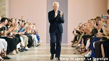 PARIS, FRANCE - JULY 02: Designer Giorgio Armani walks the runway during the Giorgio Armani Prive Haute Couture Fall/Winter 2019 2020 show as part of Paris Fashion Week on July 02, 2019 in Paris, France. (Photo by Pascal Le Segretain/Getty Images)