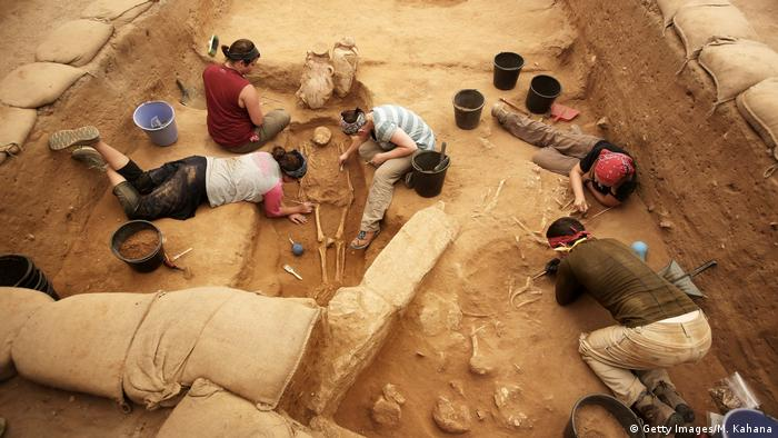 An excavation site in Ashkelon Cemetery, Israel