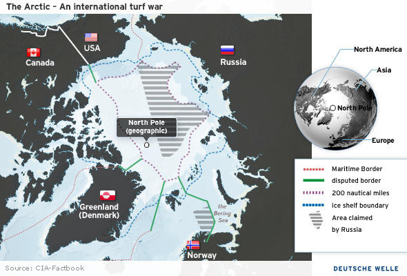 Map of arctic claims