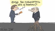 Karikatur von Sergey Elkin Reporter fragt Wladimir Putin: Wann wollen Sie sich von der Politik verabschieden?
