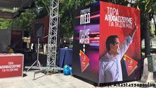 Plakatbilder von dem großen Verlieren des Wahlabends am Sonntag, Alexis Tsipras.