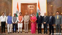 05.07.2019 New Delhi: Union Finance and Corporate Affairs Minister Nirmala Sitharaman, Union MoS Finance and Corporate Affairs Anurag Singh Thakur and other senior officials of the ministry meet President Ram Nath Kovind ahead of the presentation of the Union Budget 2019 in Parliament, at Rashtrapati Bhavan in New Delhi on July 5, 2019. (Photo: IANS/PIB)
