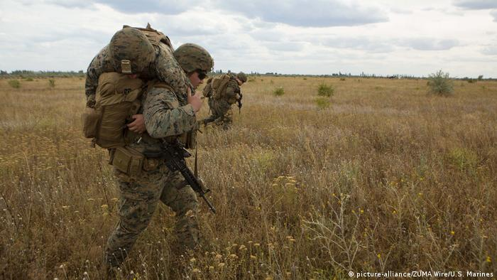 US sailors carry simulated casualties during Sea Breeze 2019 in Chabanka, Ukraine