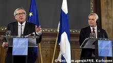 05.07.2019 Outgoing European Commission President Jean-Claude Juncker (L) and Finnish Prime Minister Antti Rinne give a joint press conference at the House of the Estates in Helsinki, Finland, on July 5, 2019, on the sidelines of a visit to the College of Commissioners of the European Commission. (Photo by Emmi Korhonen / Lehtikuva / AFP) / Finland OUT (Photo credit should read EMMI KORHONEN/AFP/Getty Images)