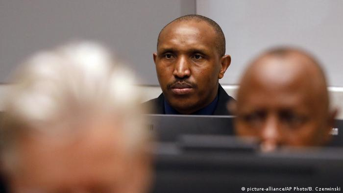 Bosco Ntaganda sits in the ICC courtroom during closing statements at his trial in The Hague.