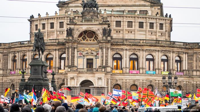 Far-right Pegida supporters demonstrate in Dresden, Saxony
