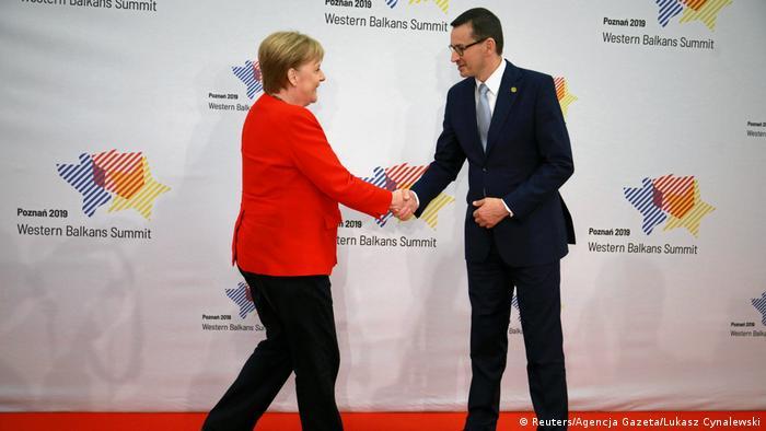 Angela Merkel and Poland's Mateusz Morawiecki