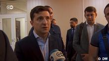 Still des DW Interview mit Präsidenten der Ukraine Volodymyr Selenskyi in Kramatorsk