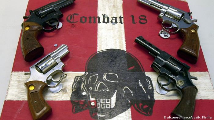 Archival picture: Confiscated weapons and the logo of criminal Nazi group «Combat 18»