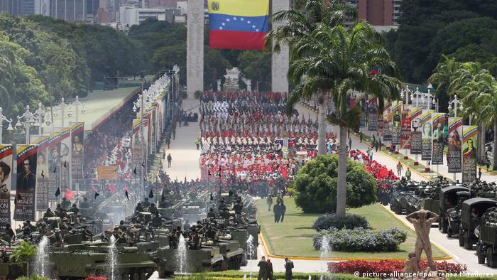 Nicolas Maduro was hoping to showcase his military might on Independence Day