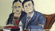 Gerichtsskizze, Joaquin El Chapo Guzman (picture-alliance/E. Williams )