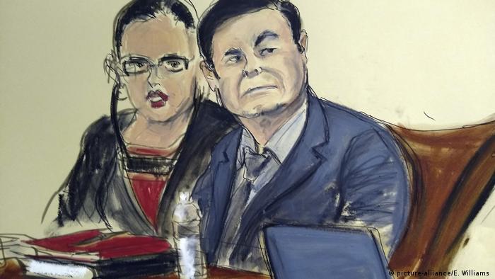 A court drawing of Joaquin El Chapo Guzman