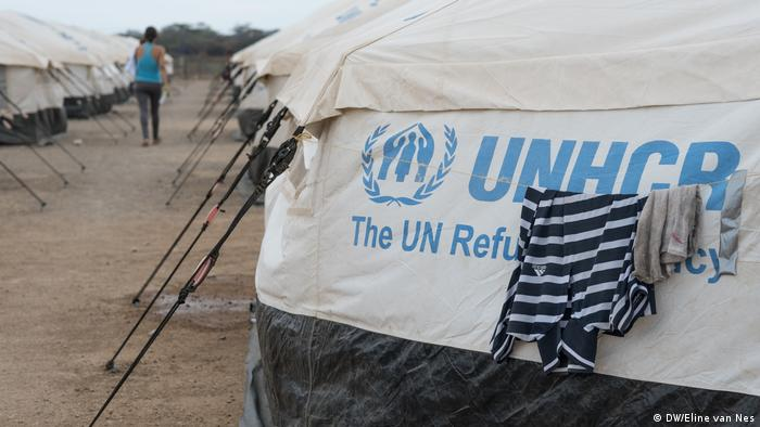 A UNHCR tent in a refugee camp